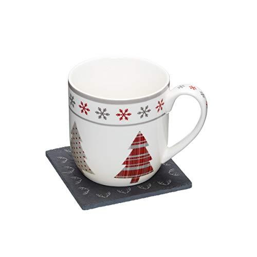 """Kitchencraft """"we Love árbol de Navidad"""" diseño de la novedad taza y Slate posavasos Set de regalo, multicolor"""