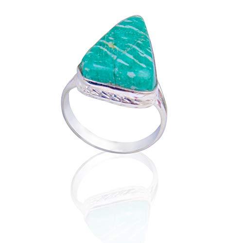 Anello in argento Sterling 925 con gemma di amazzonite, anello unisex con pietra preziosa naturale, misura 7,5 US, anello a forma di triangolo