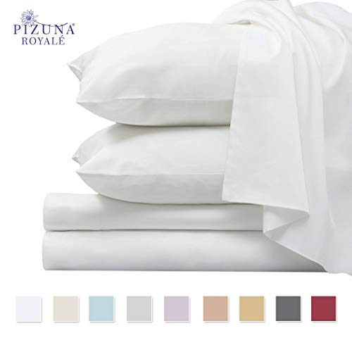 Pizuna 1000 Thread Count 4pc Sheet Set, 100% Long Staple Cotton White King Sheets, Luxurious Thick Sateen Weave Bed Sheets fits Upto 15 inch Deep Pockets (White King 100% Cotton Sheet Set)