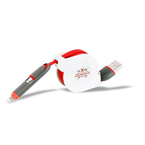 AXELENS Cable USB Múltiple por Recarga Rápido 2 en 1, Micro USB...