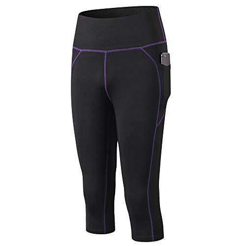 Festnight Leggings de Yoga para Mujer Pantalones Capri Secado rápido Bolsillo de Cintura Alta Bodycon Jogging Workout Gym Fitness Sport Pantalones