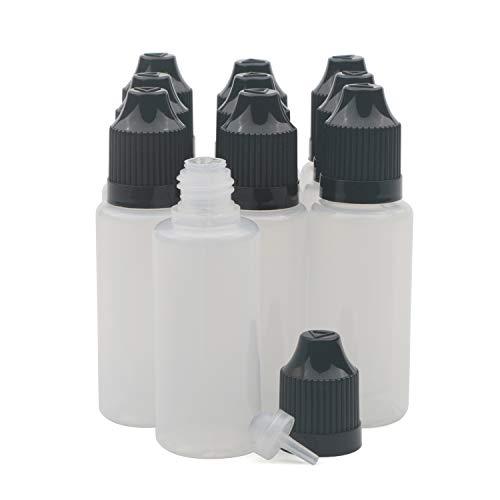 Unxuey 10x Black Plastic Dropper Dropping Kindersichere Flaschen Leere Quetschbare 20 ml Augenflüssigkeit Ejuice Leere tragbare nachfüllbare Kosmetikflaschen Behälter
