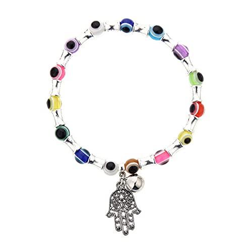 Pulsera simple de mal de ojo, campanas de religión étnica, dijes de Fátima, brazaletes, cuentas azules, pulseras turcas de la suerte para mujer, joyería de 19Cm