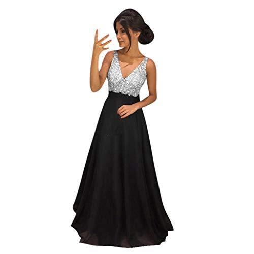 VEMOW Vestido Mujer Suelto Color sólido Sin Mangas Cuello en V Honda Lentejuela Largo Completo Vestir OtoñO Summer(Negro,XL)