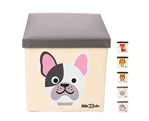 little Babo Kinder Aufbewahrungsbox I Spielzeugkiste mit Deckel für Kinderzimmer I Spielzeug Box (33x33x33) zur Aufbewahrung im Kallax Regal I faltbar, groß und stabil zum sitzen – Tiermotiv Hund