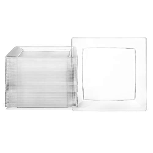 Clear Square Plates Set by Oasis Creations - 6.5' - 50 count - Premium Hard Clear Disposable Plastic - Disposable and Reusable - Salad Plate - Appetizer Plate - Dessert Plate - Party Plate Set