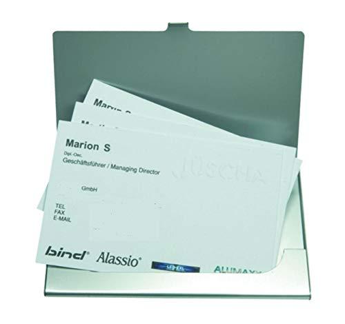 Alassio Visitenkartenetui aus Aluminium in Matter Optik, Etui für ca. 10 Visitenkarten Visitenkartenhülle, 10 cm, Silber