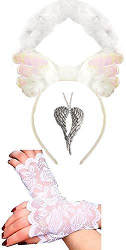 Witte Halo + grote beschermengel vleugels ketting + vingerloze handschoenen