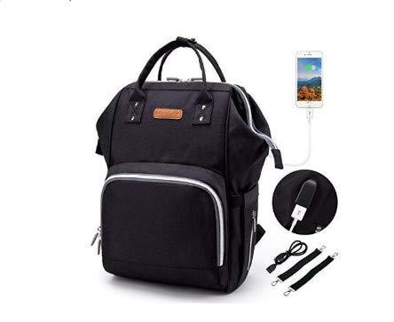 Baby Wickelrucksack Wickeltasche, 2 Kinderwagen-haken, USB-Lade Port, Große Kapazität, Multifunktional, Wasserdicht, Kein Formaldehyd (schwarz)