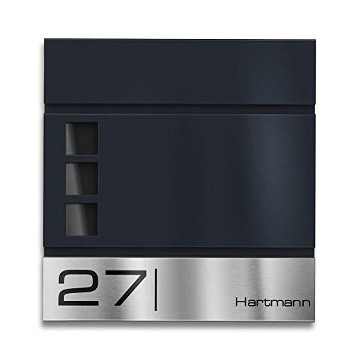 Metzler Briefkasten mit Edelstahl-Namensschild Cube - Name & Hausnummer als Lasergravur - Design Wandbriefkasten inkl. Zeitungsfach - Briefkasten mit Fenster - Postkasten, Größe: 37 x 37 x 10,5 cm