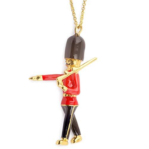 Monkimau Damen Ketten Mr. London aus Messing Gold plattiert mit 78cm Kette rot schwarz handbemalt