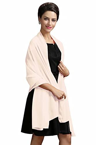 MisShow Damen Festlich Stola Sommer Schal Sonnenschutz für Hochzeit Abendkleid Sandstrand Halstücher Seidentuch(Champagne,Einheitsgröße)