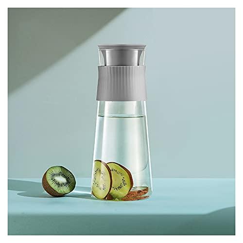 Jarra de agua con anillo de sellado de silicona, tetera multicolor con doble salida para zumo, bebidas frías y calientes, jarra de café (color: gris)