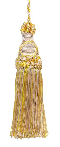 Decorative 14cm Key Tassel, Ivory, Yellow Gold Imperial II Collection Style# KTIC Color: WINTER SUN - 4874