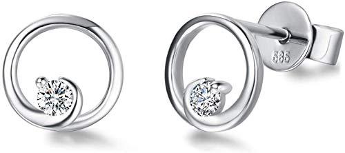 Pendientes Pequeños Ronda para Mujer en Oro Blanco 14 k (585) con 0.082 cttw Natural Diamante Genuino Pendientes Joyas para Mujeres Niñas - Diámetro: 7 mm