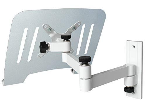 DRALL INSTRUMENTS Laptop Wandhalterung Halterung (TÜV SÜD-geprüft) weiß mit Notebook Adapterplatte Ablage Silber Modell: L52W-IP3S