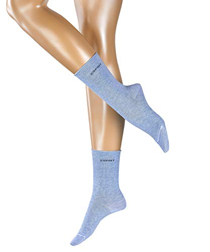 ESPRIT Damen Basic PURE 2-Pack W SO Socken, Blau (Light Denim 6668), 35-38 (2er Pack)