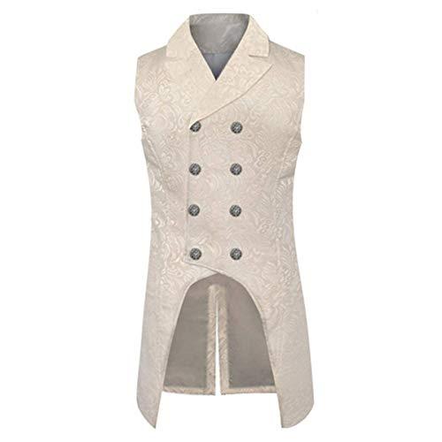Chaleco gótico steampunk vintage de doble botonadura Brocade uniforme uniforme traje formal tailcoat chaleco