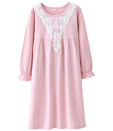 HOYMN Nachthemden für Mädchen Spitze Nachthemd für Herbst-Winter 100% Baumwolle 3-13 Jahre (5-6 Jahre, Rosa Spitze)