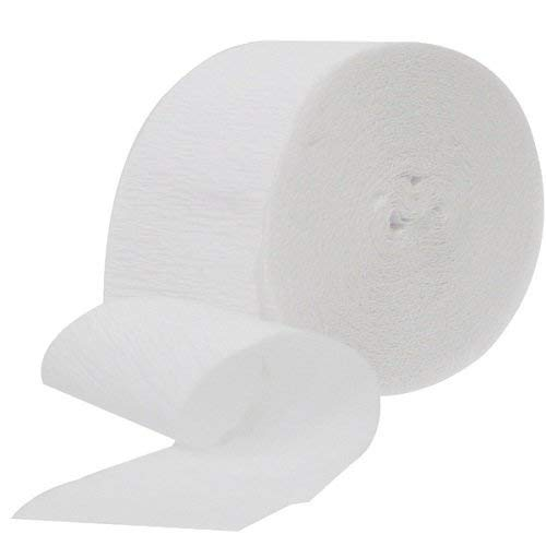 4 ROLLS Crepe Paper Streamers 290 ft Total-Made in USA (White) by Greenbrier International Inc