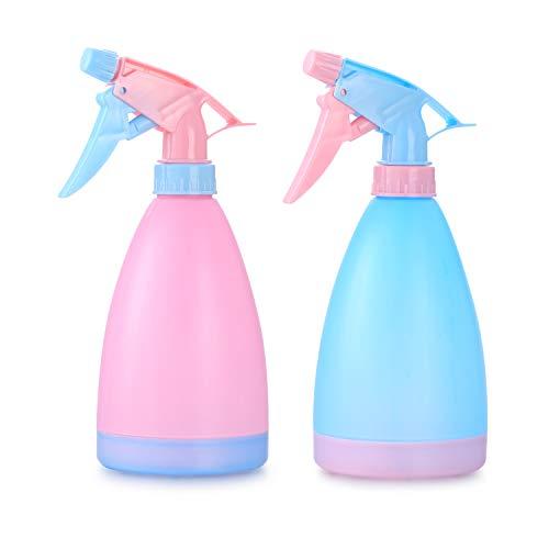 2 Pulverizadores de Niebla 500 ml, Pulverizadores de Plantas, Botellas de Agua de Plástico, Botella de Pulverización Vacío, para Jardín, Flores Hogar, Limpieza de Cocina, Peluquería, Azul/Rosa