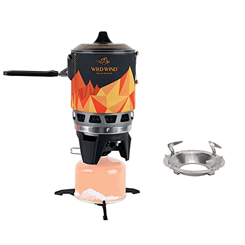 WILD-WIND Star X3 Outdoor Camping and Backpacking Stove Cooking System ,Portable Camping Stove with Piezo Ignition POT Support, black