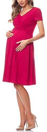 Be Mammy Damen Umstandskleid Maternity Schwangerschaftskleid BE20-223 (Himbeerrosa, L)
