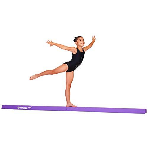 Springee 9ft Balance Beam - Extra Firm - Vinyl Folding Gymnastics Beam for Home - Purple