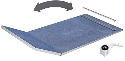 VBChome Duschelement 130+50x90x5/10,5cm PLATE Duschboard Extra Flach Beflisbar Duschrinne 3cm Abdeckung Ablauf Viega SLIM LUX