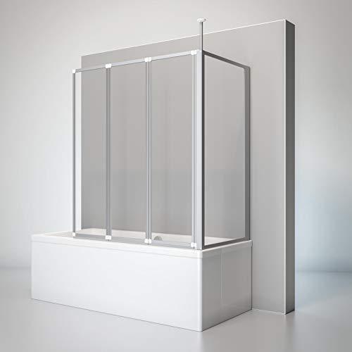 Schulte D1603 01 50 Duschwand Well mit Seitenwand, 129 x 140 x 75 cm, 3-teilig faltbar, 3 mm Sicherheitsglas Klar hell, alunatur, Duschabtrennung für Wanne