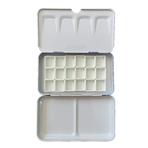 BOOYEE Empty Watercolor Palette Paint Tin Case with Half Pans Carrying Magnetic Stripe (Starry with 18pcs Half Pans)