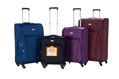 Extra Large Super Lightweight 4 Wheel Spinner Luggage Suitcase Travel Trolley (Burgundy, 20)