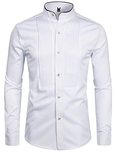 ZEROYAA Mens Hipster Slim Fit Long Sleeve Tuxedo Dress Shirts Banded Collar with Black Piping ZZCL19 White X Large