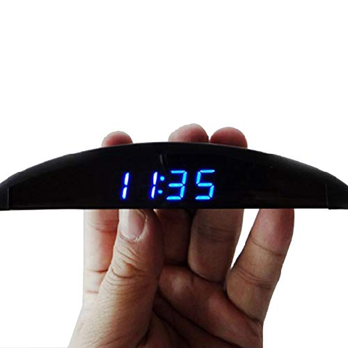 Mioloe Coche A Bordo del Reloj electrónico Termómetro Medidor de Voltaje Decoración para automóviles Pantalla Luminosa Azul