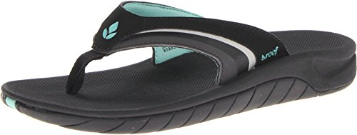 Reef Women's Slap 3 Sandal, Black/Black/Aqua, 10