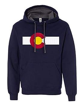 Colorado Flag Hoodie Sweatshirt Medium Navy