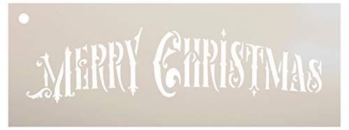 """Merry Christmas Ornate Stencil - by StudioR12 