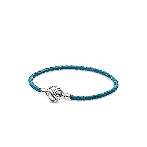 LISHOU Pandora S925 Beads DIY Ocean Heart Pulsera Mujer Colgante con Cuentas Atrapasueños Conjunto Romántico
