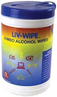 12-TUB DEAL Liv-Wipe Alcohol Wipes, 70% Isopropyl Alcohol, Jumbo, 42 x 14.5cm, 75 Wipes per Tub