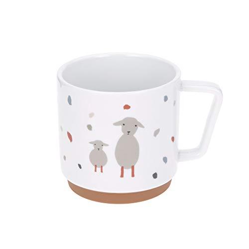 LÄSSIG Taza de porcelana para niños con anillo de silicona antideslizante, vajilla para niños Tiny Farmer Sheep/Goose