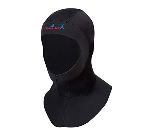 Dive & Sail Unisex Hombres Mujeres 3 mm Neopreno Diving Hood Collar para Bucear Surf (S, Negro)