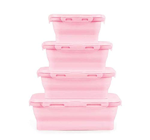 4 Pack Collapsible Food Storage Containers,Silicone Collapsible Lunch Bento Box, Reusable Space Saving Containers Picnic Boxes, for School, Work and Travel (Pink)