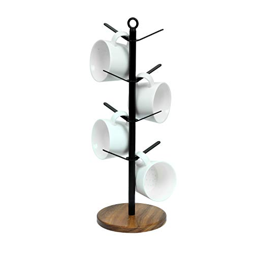 simesove Drying Storage Rack Holder Home Storage Mug Hooks Multipurpose Display Stand Metal Tree Shape Mug Coffee Cups Stand with 8 HooksWalnut Base