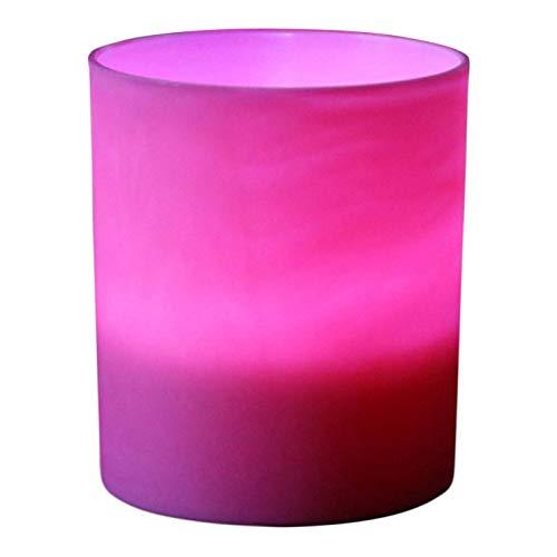 PK Green 6er Set LED Kerzen in Rosa Kunststoffhülle, Batterie Flammenlose Teelichter Votivkerzen Kerzenhalter
