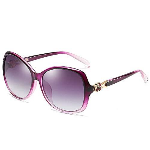 Yaunli Señoras de Las Gafas de Sol Gafas de Sol del trébol Perla de Las Mujeres Pasta de conducción Gafas de Sol de Compras Gafas de Sol polarizadas de Gran tamaño (Color : Purple, Size : One Size)