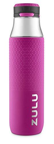 ZULU Studio Glass Water Bottle with Silicone Sleeve, Pink, 26oz