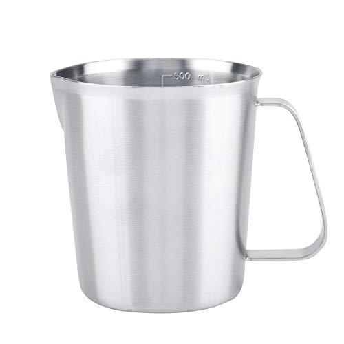 Multifunctionele roestvrijstalen melkopschuimer Pitcher praktische metalen koffiekopjes Handige, drilloze uitloop ontworpen beker met dubbele maatschaal en extra brede greep. 500 ml.