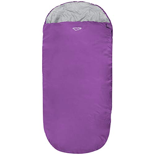 Highlander XL Junior Schlafsack Extra großes Pod-Design, perfekt für Camping und Übernachtungen - Leichte Einzelschlafsäcke für Kinder - The Junior Sleephaven (Fuchsia)