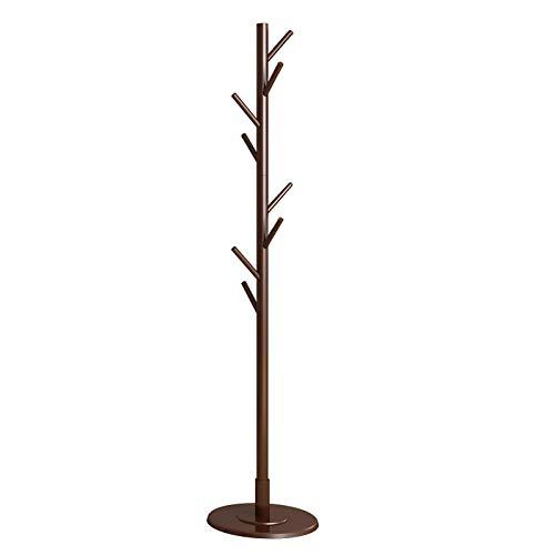 Stable Socle Rond pour Foyer Entrée Couloir Perroquet,sur Pieds en Forme d arbre Portemanteau avec 8 Crochets,Style Minimaliste Vintage Bois Porte-Manteau-Marron. 165x35cm