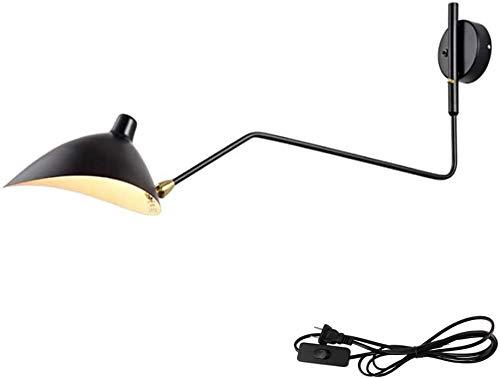 Retro Vintage interior apliques de pared ajustable con brazo largo, lámpara de pared extensible con interruptor de la pared del enchufe de luz giratoria de la lámpara de pared arandelas,A,95 * 40cm